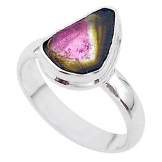 4.18cts solitaire watermelon tourmaline slice 925 silver ring size 7 t46299