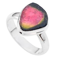 4.67cts solitaire watermelon tourmaline slice 925 silver ring size 7 t46300