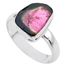 4.69cts solitaire watermelon tourmaline slice 925 silver ring size 8 t46293