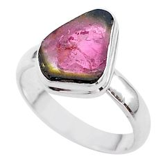4.67cts solitaire watermelon tourmaline slice 925 silver ring size 8 t46297