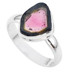 4.48cts solitaire watermelon tourmaline slice 925 silver ring size 9 t46284