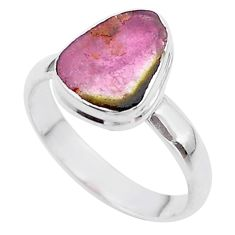 4.63cts solitaire watermelon tourmaline slice 925 silver ring size 9 t46287