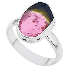 5.95cts solitaire watermelon tourmaline slice 925 silver ring size 8.5 t46281