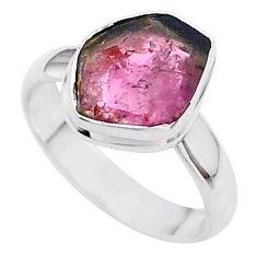 4.67cts solitaire watermelon tourmaline slice 925 silver ring size 6.5 t46286