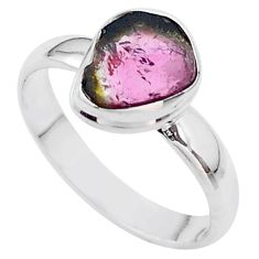 4.21cts solitaire watermelon tourmaline slice 925 silver ring size 9.5 t46289