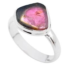 5.38cts solitaire watermelon tourmaline slice 925 silver ring size 9.5 t46320