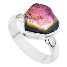 4.34cts solitaire watermelon tourmaline slice 925 silver ring size 6.5 t46350