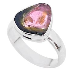 4.43cts solitaire watermelon tourmaline slice fancy silver ring size 6 t46290