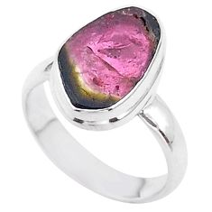 5.80cts solitaire watermelon tourmaline slice fancy silver ring size 6 t46307