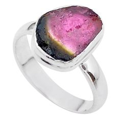 5.11cts solitaire watermelon tourmaline slice fancy silver ring size 8 t46288