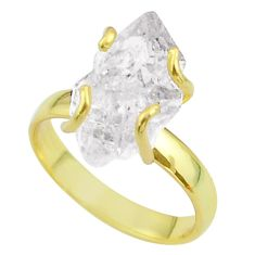 5.79cts solitaire white herkimer diamond 925 silver 14k gold ring size 7 t49440