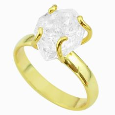 5.79cts solitaire white herkimer diamond 925 silver gold ring size 8 t49430