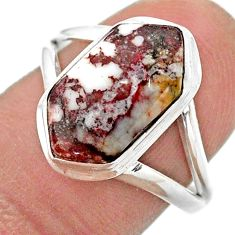 5.06cts solitaire wild horse magnesite 925 silver hexagon ring size 8 t48506