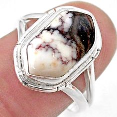 4.82cts solitaire wild horse magnesite 925 silver hexagon ring size 8 t48674