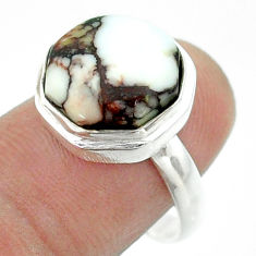 6.04cts solitaire wild horse magnesite 925 silver hexagon ring size 8 t55942