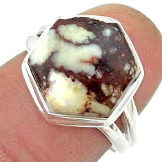 6.36cts solitaire wild horse magnesite 925 silver hexagon ring size 6.5 t55112