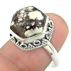6.58cts solitaire wild horse magnesite 925 silver hexagon ring size 6.5 t55906