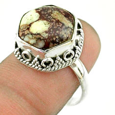 6.31cts solitaire wild horse magnesite hexagon 925 silver ring size 7.5 t55882