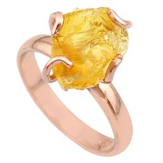 6.45cts solitaire yellow citrine rough 925 silver rose gold ring size 8 t36851