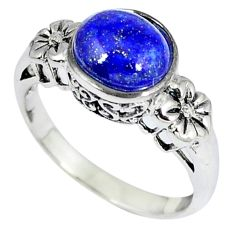 Southwestern blue lapis round 925 sterling silver ring jewelry size 9 c10389