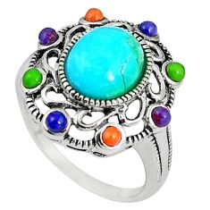 Southwestern multi color copper turquoise 925 silver ring size 7.5 c10330