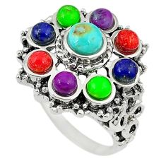 Southwestern multi color copper turquoise 925 silver ring size 6.5 c10332