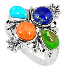 Southwestern multi color copper turquoise 925 silver ring size 6.5 c10349