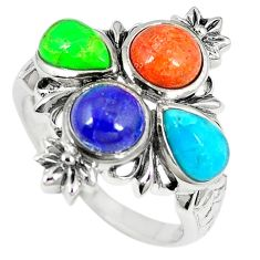 Southwestern multi color copper turquoise 925 silver ring size 8.5 c10355