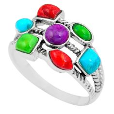 Southwestern multi color copper turquoise 925 silver ring size 10 c10322