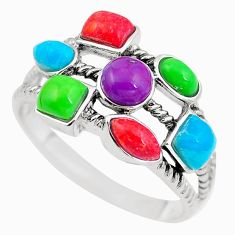 Southwestern multi color copper turquoise 925 silver ring size 10 c10327