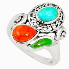 Southwestern multi color copper turquoise 925 silver ring size 5 c10361