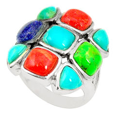 Southwestern multi color copper turquoise 925 silver ring size 6 c10347