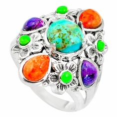 Southwestern multi color copper turquoise 925 silver ring size 6 c10357