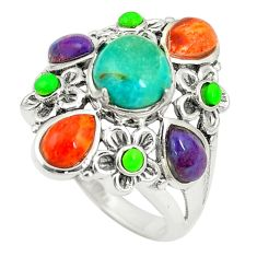 Southwestern multi color copper turquoise 925 silver ring size 7 c10359