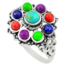 Southwestern multi color copper turquoise lapis 925 silver ring size 9.5 c10337
