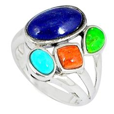 Southwestern natural blue lapis copper turquoise 925 silver ring size 6 c10338