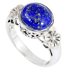 Southwestern natural blue lapis oval 925 silver flower ring size 6 c11489
