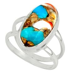 7.21cts spiny oyster & arizona turquoise 925 silver ring size 7.5 r42223