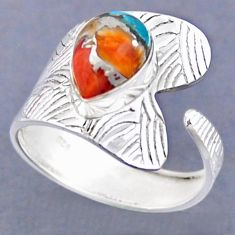 4.74cts spiny oyster arizona turquoise 925 silver adjustable ring size 10 r54802