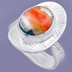 5.28cts spiny oyster arizona turquoise 925 silver adjustable ring size 8 r54707