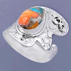 4.84cts spiny oyster arizona turquoise 925 silver adjustable ring size 8 r54867