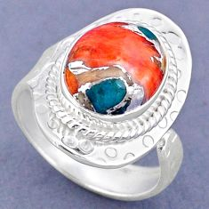 4.68cts spiny oyster arizona turquoise 925 silver adjustable ring size 8 r63275