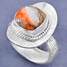 5.36cts spiny oyster arizona turquoise 925 silver adjustable ring size 8 r63329