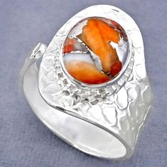 5.31cts spiny oyster arizona turquoise 925 silver adjustable ring size 9 r63248