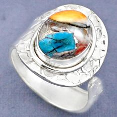 5.16cts spiny oyster arizona turquoise 925 silver adjustable ring size 9 r63265