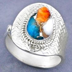 4.47cts spiny oyster arizona turquoise 925 silver adjustable ring size 9 r63295