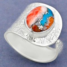 5.31cts spiny oyster arizona turquoise 925 silver adjustable ring size 9 r63386
