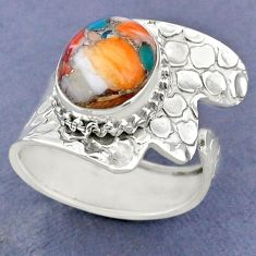 5.28cts spiny oyster arizona turquoise 925 silver adjustable ring size 9 r63403
