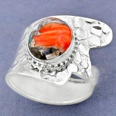 5.29cts spiny oyster arizona turquoise 925 silver adjustable ring size 9 r63428