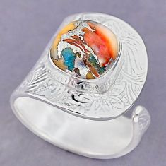5.32cts spiny oyster arizona turquoise 925 silver adjustable ring size 9 r90590